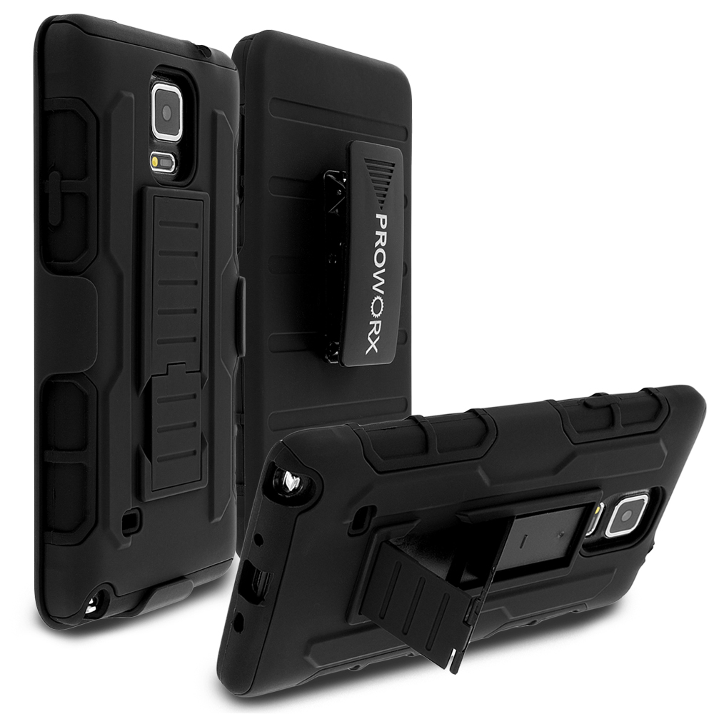 Samsung Galaxy Note 4 Black ProWorx Heavy Duty Shock Absorption Armor Defender Holster Case Cover With Belt Clip