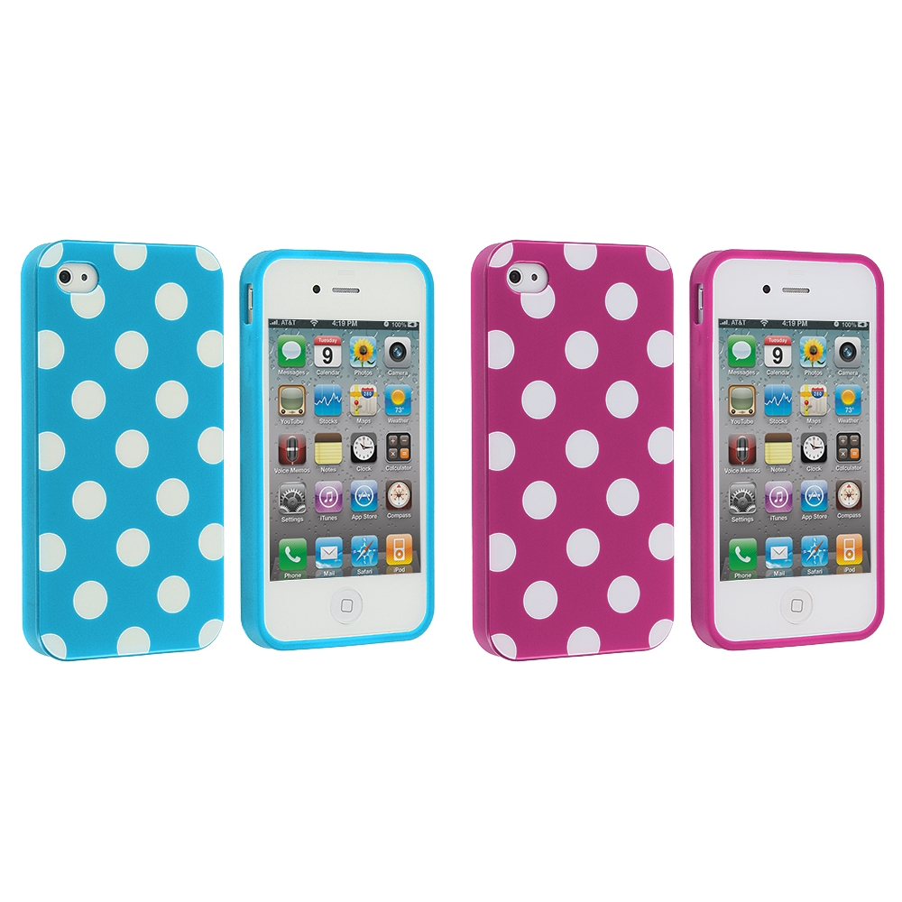 Apple iPhone 4 / 4S 2 in 1 Combo Bundle Pack - Baby Blue / Pink TPU Polka Dot Skin Case Cover