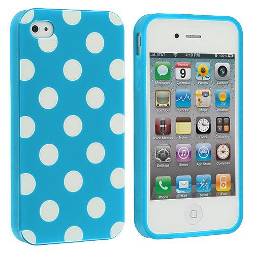 Apple iPhone 4 / 4S 2 in 1 Combo Bundle Pack - Baby Blue / Pink TPU Polka Dot Skin Case Cover : Color Baby Blue / White