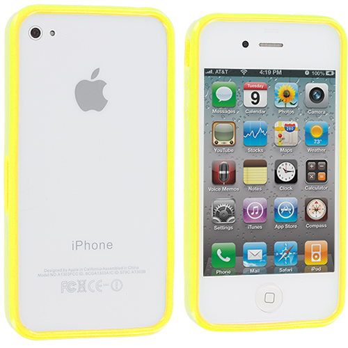 Apple iPhone 4 / 4S 2 in 1 Combo Bundle Pack - Yellow Orange Solid TPU Bumper : Color Yellow Solid