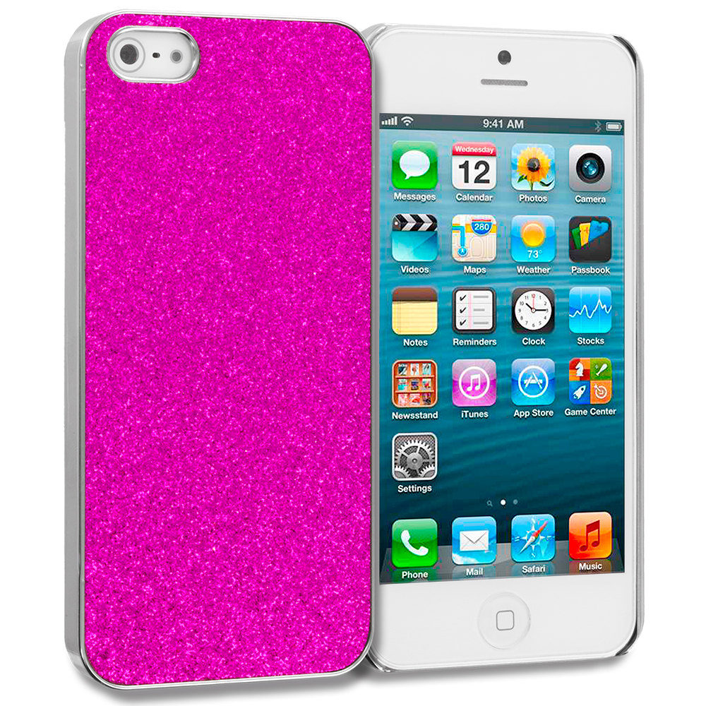 Apple iPhone 5/5S/SE Combo Pack : Baby Blue Glitter Case Cover : Color Hot Pink