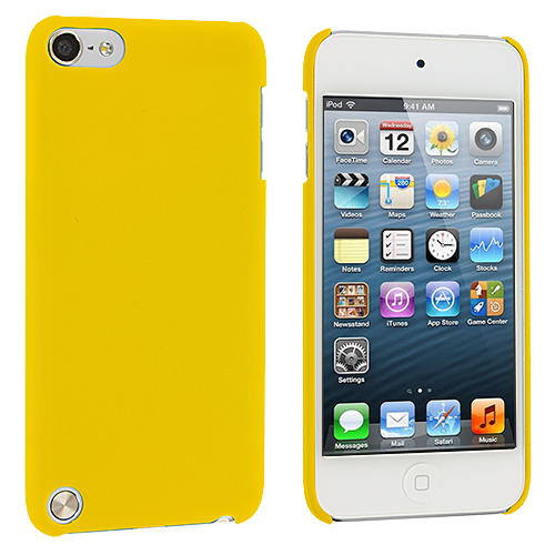 Apple iPod Touch 5th 6th Generation 2 in 1 Combo Bundle Pack - Hot Pink Yellow Hard Rubberized Back Cover Case : Color Yellow