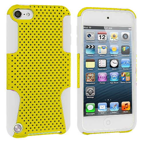 Apple iPod Touch 5th 6th Generation White / Yellow Hybrid Mesh Hard/Soft Case Cover