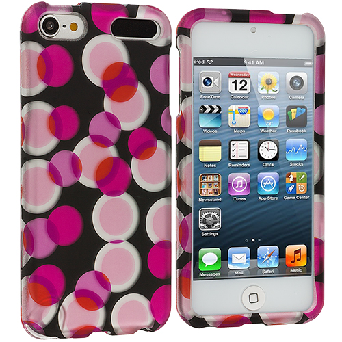 Apple iPod Touch 5th 6th Generation 2 in 1 Combo Bundle Pack - Colorful Bubbles Hard Rubberized Design Case Cover : Color Hot Pink Bubbles
