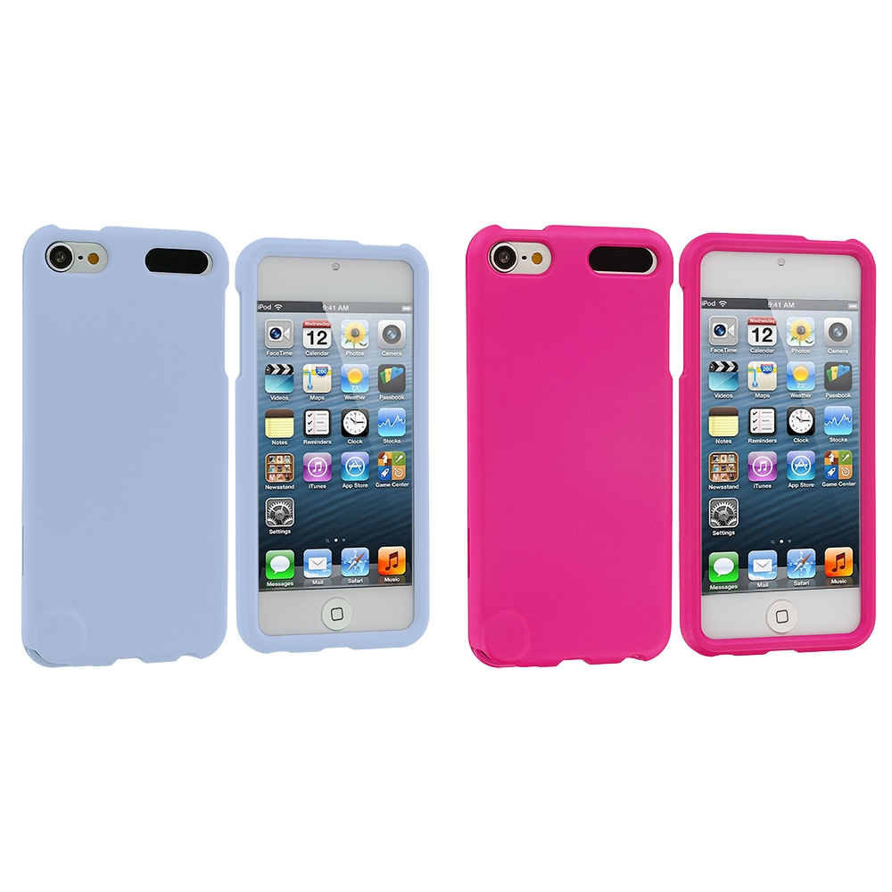 Apple iPod Touch 5th 6th Generation 2 in 1 Combo Bundle Pack - Baby Blue Pink Hard Rubberized Case Cover