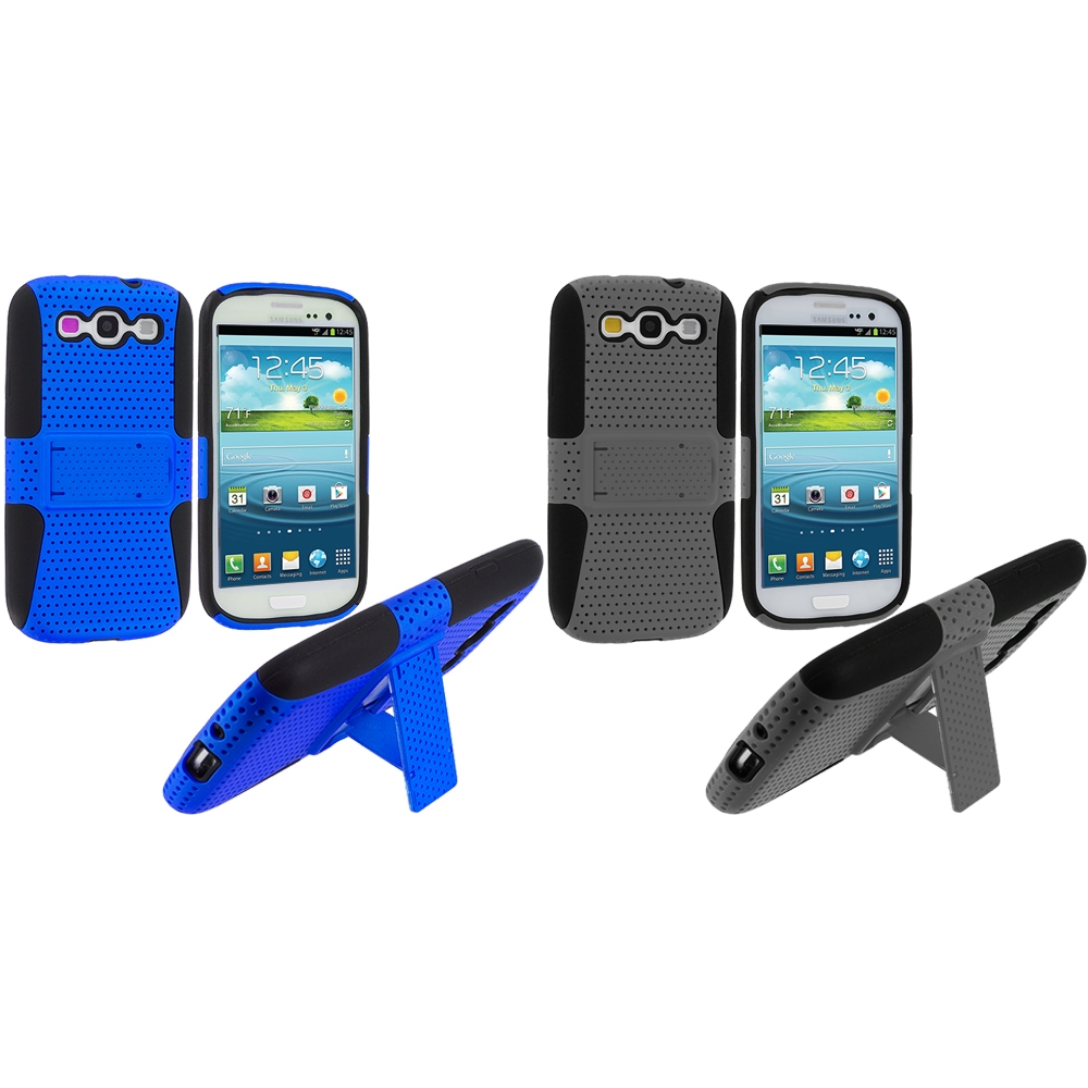 Samsung Galaxy S3 2 in 1 Combo Bundle Pack - Gray Blue Hybrid Mesh Hard/Soft Case Cover with Stand
