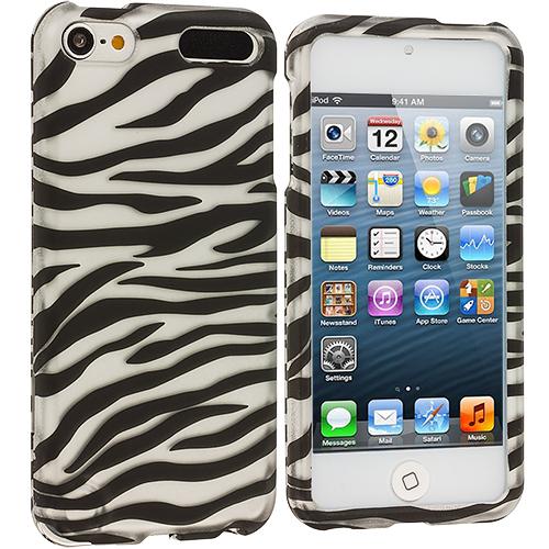 Apple iPod Touch 5th 6th Generation Black / Silver Zebra Hard Rubberized Design Case Cover