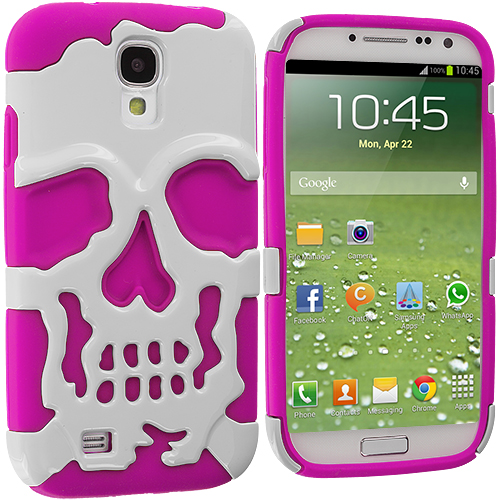 Samsung Galaxy S4 Hot Pink / White Hybrid Skull Hard/Soft Case Cover