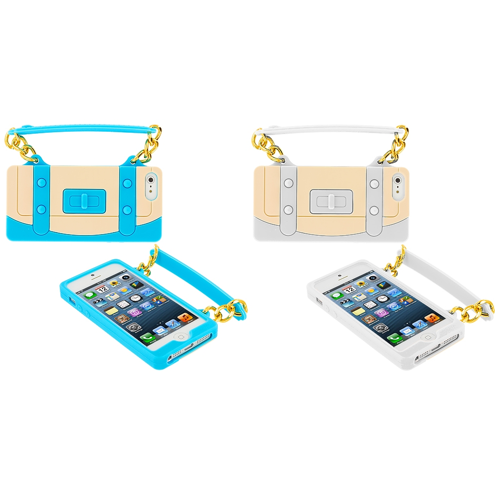 Apple iPhone 5/5S/SE Combo Pack : Baby Blue Handbag Silicone Design Soft Skin Case Cover