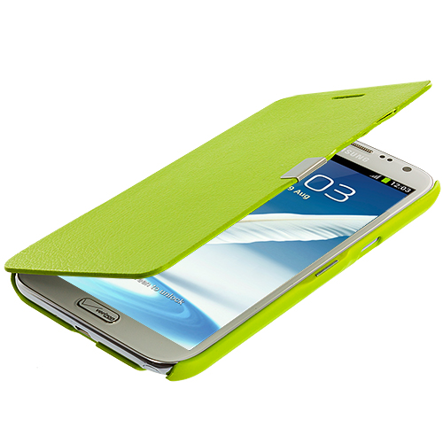 Samsung Galaxy Note 2 II N7100 Neon Green Texture Magnetic Wallet Case Cover Pouch