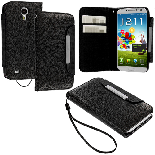 Samsung Galaxy S4 Black Lanyard Leather Wallet Pouch Case Cover with Slots