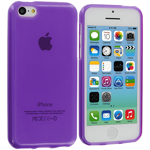 Apple iPhone 5C Purple TPU Rubber Skin Case Cover