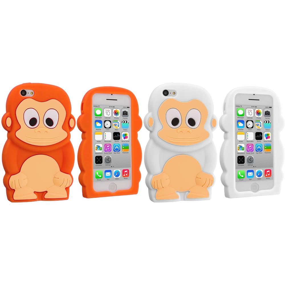 Apple iPhone 5C 2 in 1 Combo Bundle Pack - Orange White Monkey Silicone Design Soft Skin Case Cover