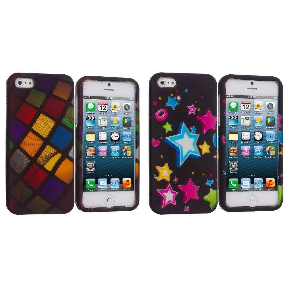 Apple iPhone 5/5S/SE Combo Pack : Color Ball Hard Rubberized Design Case Cover
