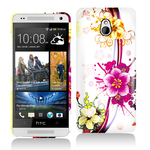 HTC One Mini Purple Flower Chain Hard Rubberized Design Case Cover