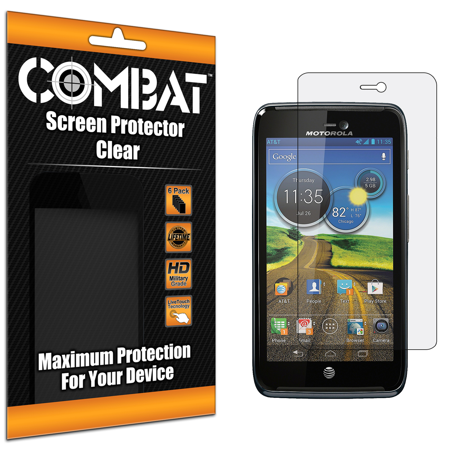 Motorola Atrix HD MB886 Combat 6 Pack HD Clear Screen Protector