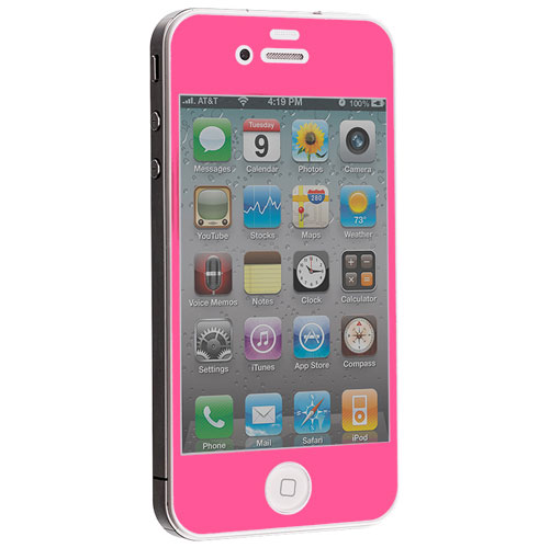 Apple iPhone 4 / 4S Hot Pink Tempered Glass LCD Screen Protector