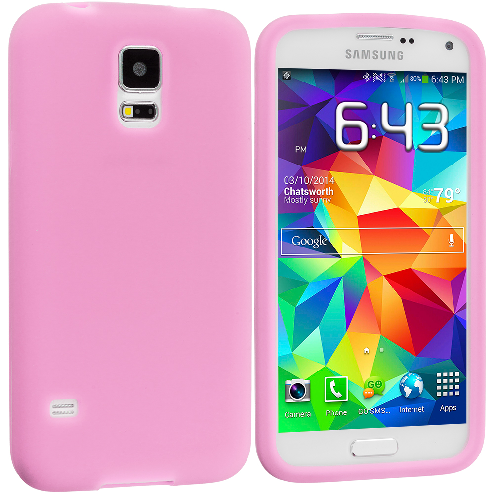 Samsung Galaxy S5 2 in 1 Combo Bundle Pack - White Pink Silicone Soft Skin Case Cover : Color Pink