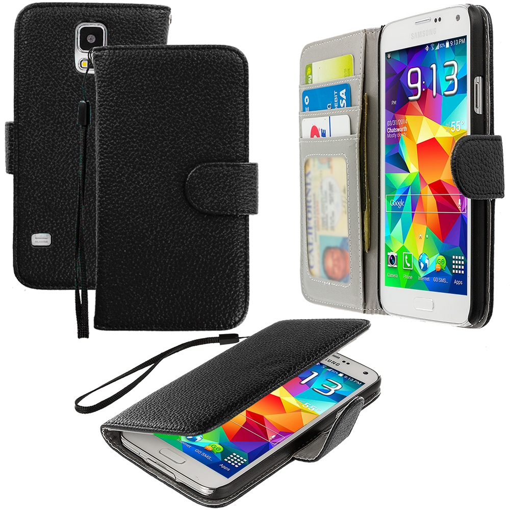Samsung Galaxy S5 2 in 1 Combo Bundle Pack - Black Red Leather Wallet Pouch Case Cover with Slots : Color Black