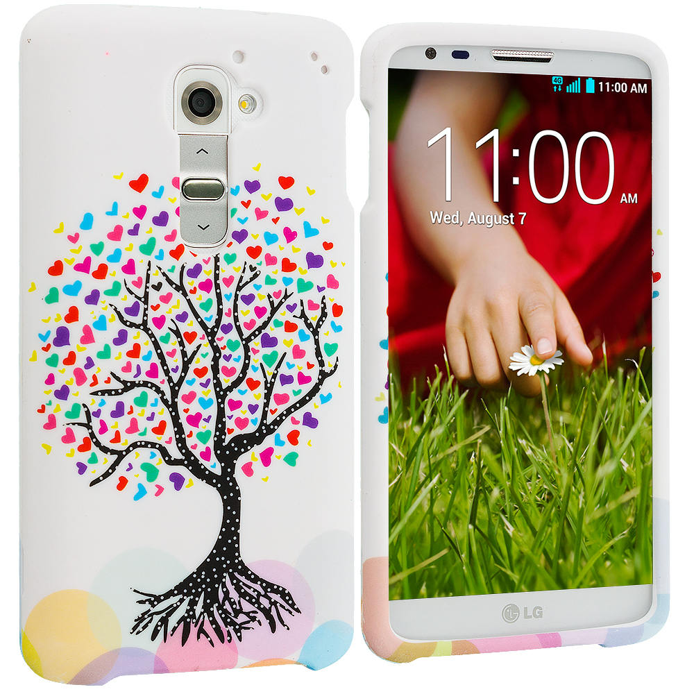 LG G2 Verizon Love Tree on White Hard Rubberized Design Case Cover