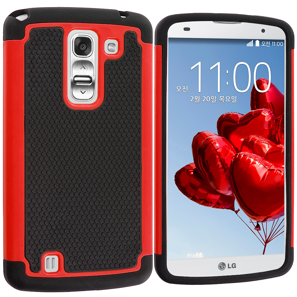 LG G Pro 2 Black / Red Hybrid Rugged Hard/Soft Case Cover