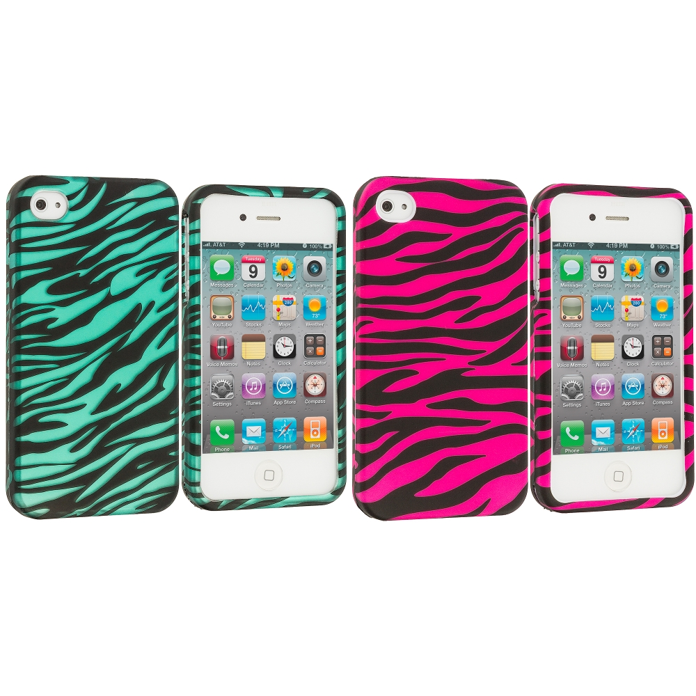 Apple iPhone 4 / 4S 2 in 1 Combo Bundle Pack - Pink/Baby Blue Zebra2D Hard Rubberized Design Case Cover