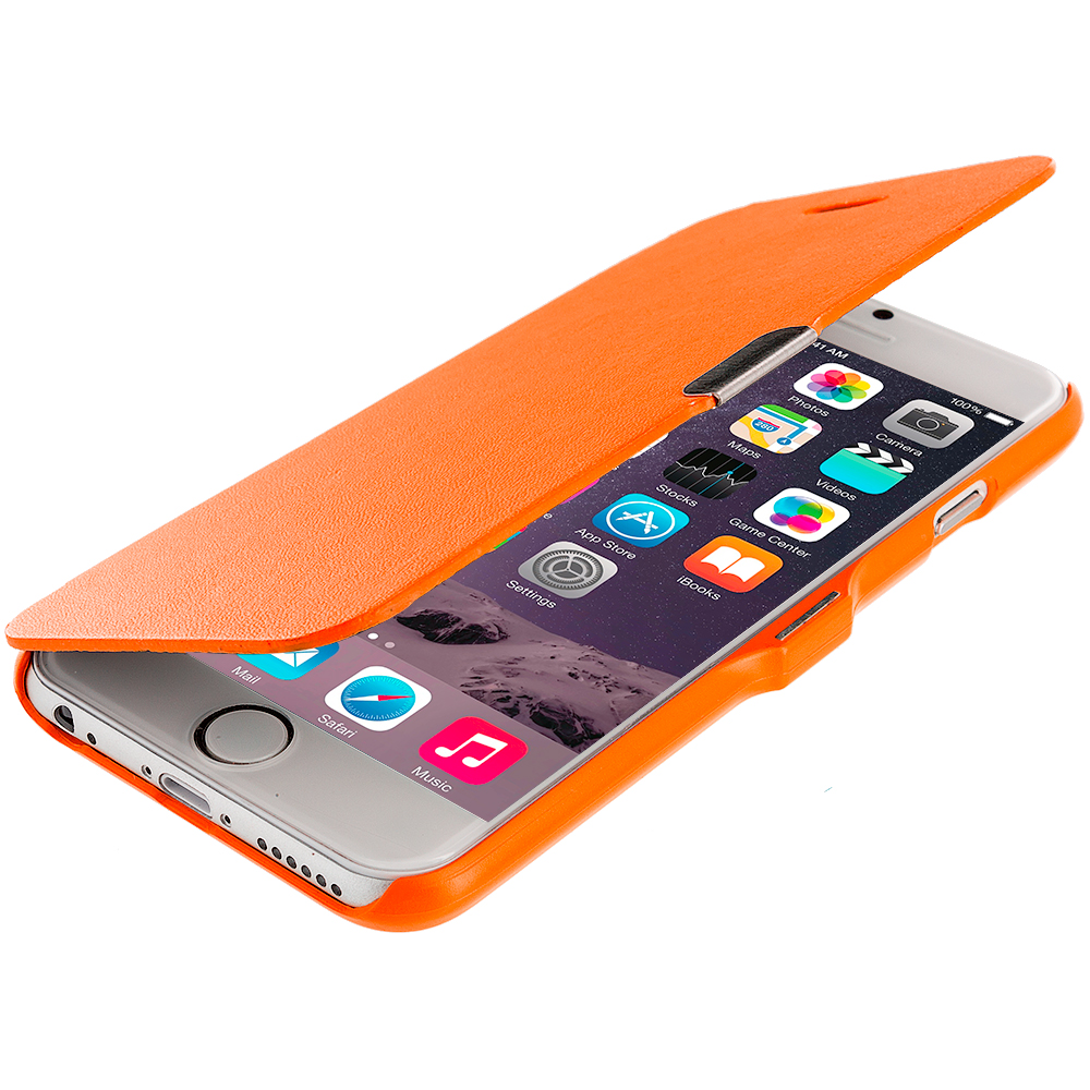 Apple iPhone 6 Plus 6S Plus (5.5) Orange Magnetic Flip Wallet Case Cover Pouch