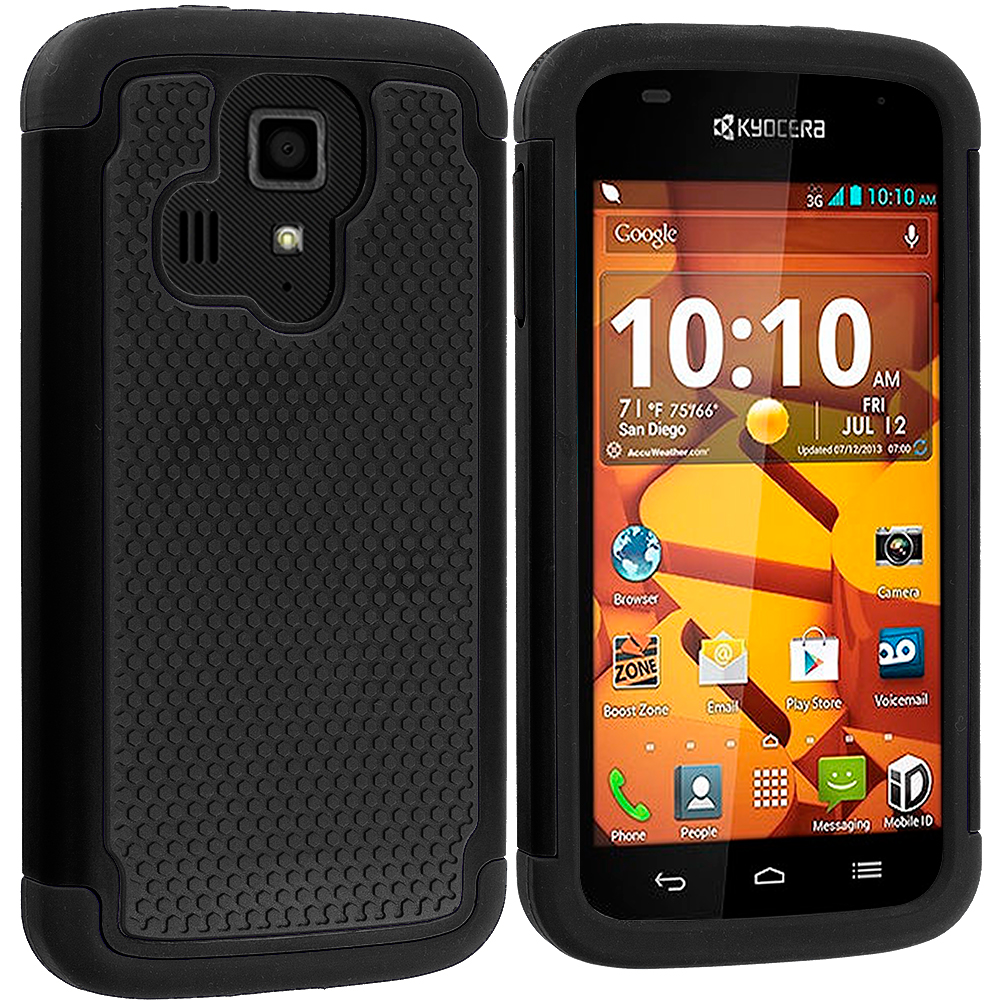 Kyocera Hydro Icon / Hydro Life Black / Black Hybrid Rugged Grip Shockproof Case Cover