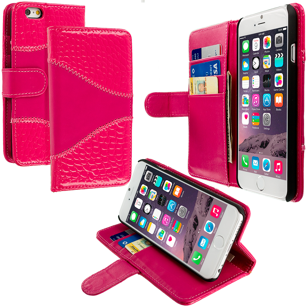 Apple iPhone 6 Plus 6S Plus (5.5) 4 in 1 Combo Bundle Pack - Crocodile Leather Wallet Pouch Case Cover with Slots : Color Hot Pink Crocodile