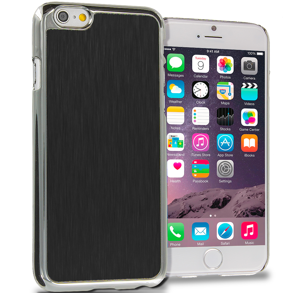 Apple iPhone 6 6S (4.7) Black Brushed Aluminum Metal Hard Case Cover
