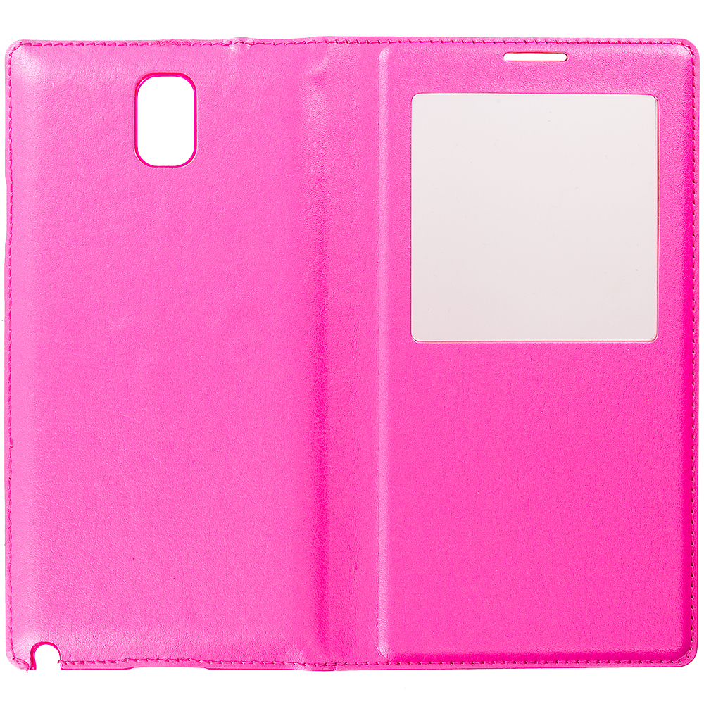 Samsung Galaxy Note 3 N9000 Hot Pink Battery Door Rear Replacement Ultra Slim Wallet Flip Case Cover