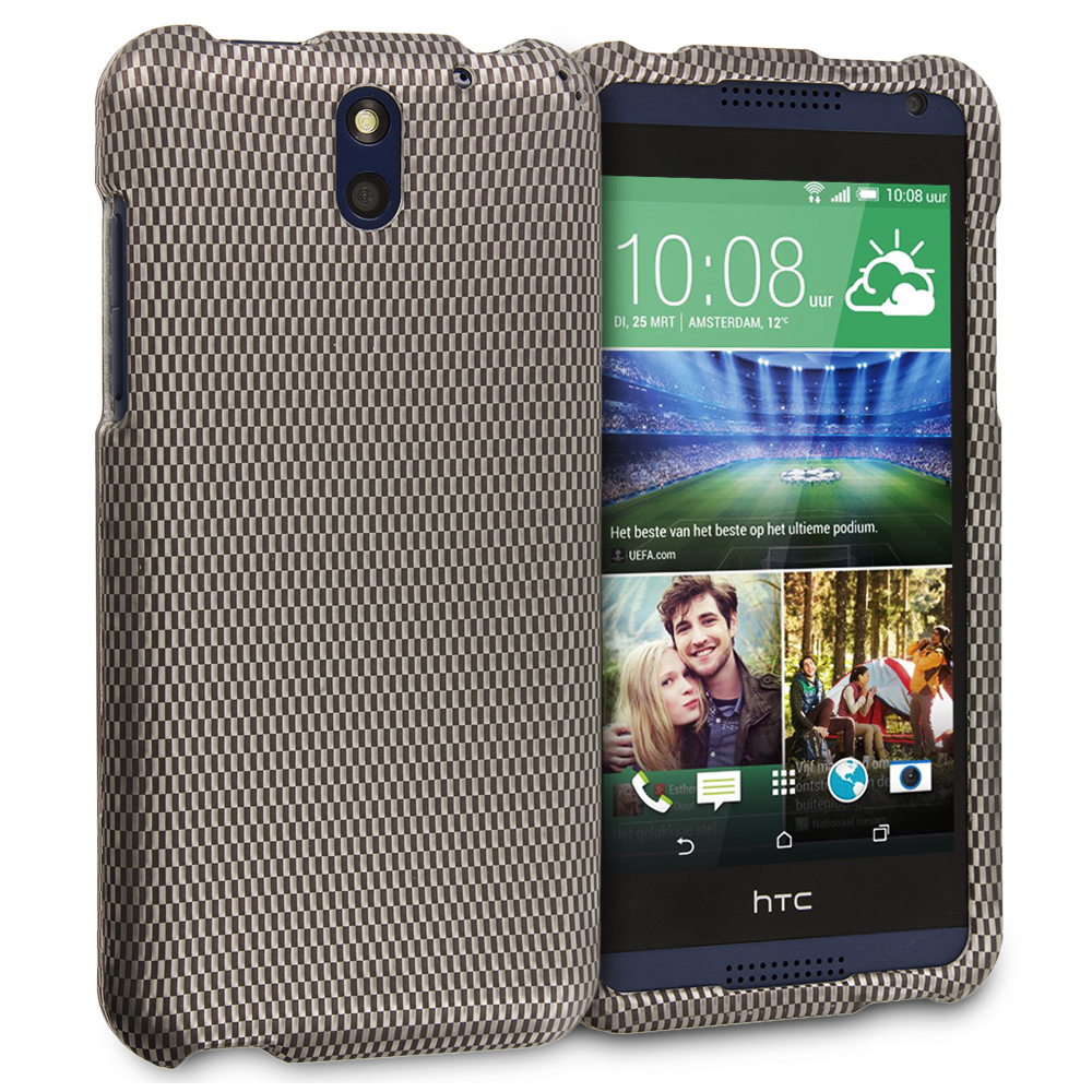 HTC Desire 610 Carbon Fiber 2D Hard Rubberized Design Case Cover