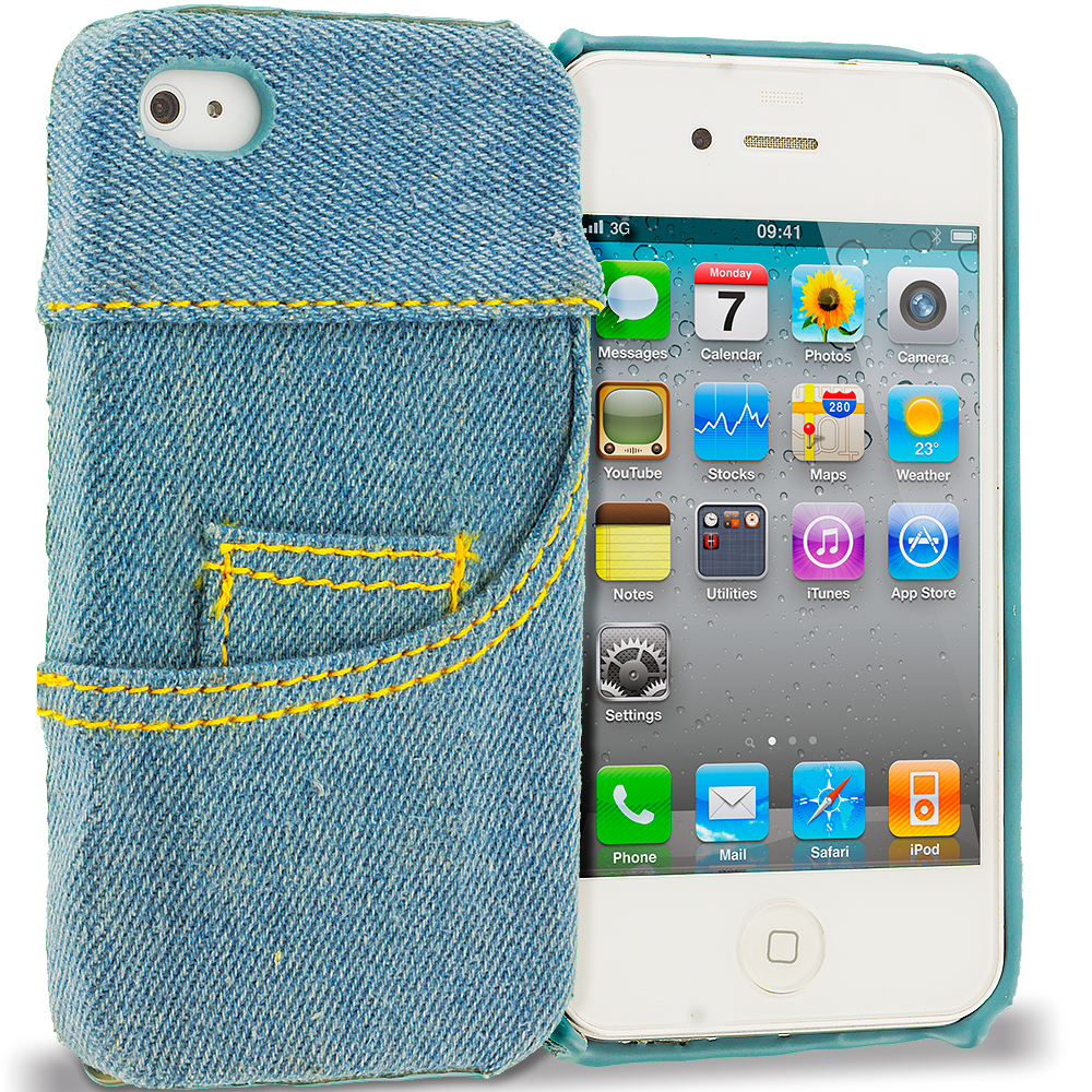 Apple iPhone 4 / 4S Jeans Front Pocket Hard Rubberized Back Cover Case