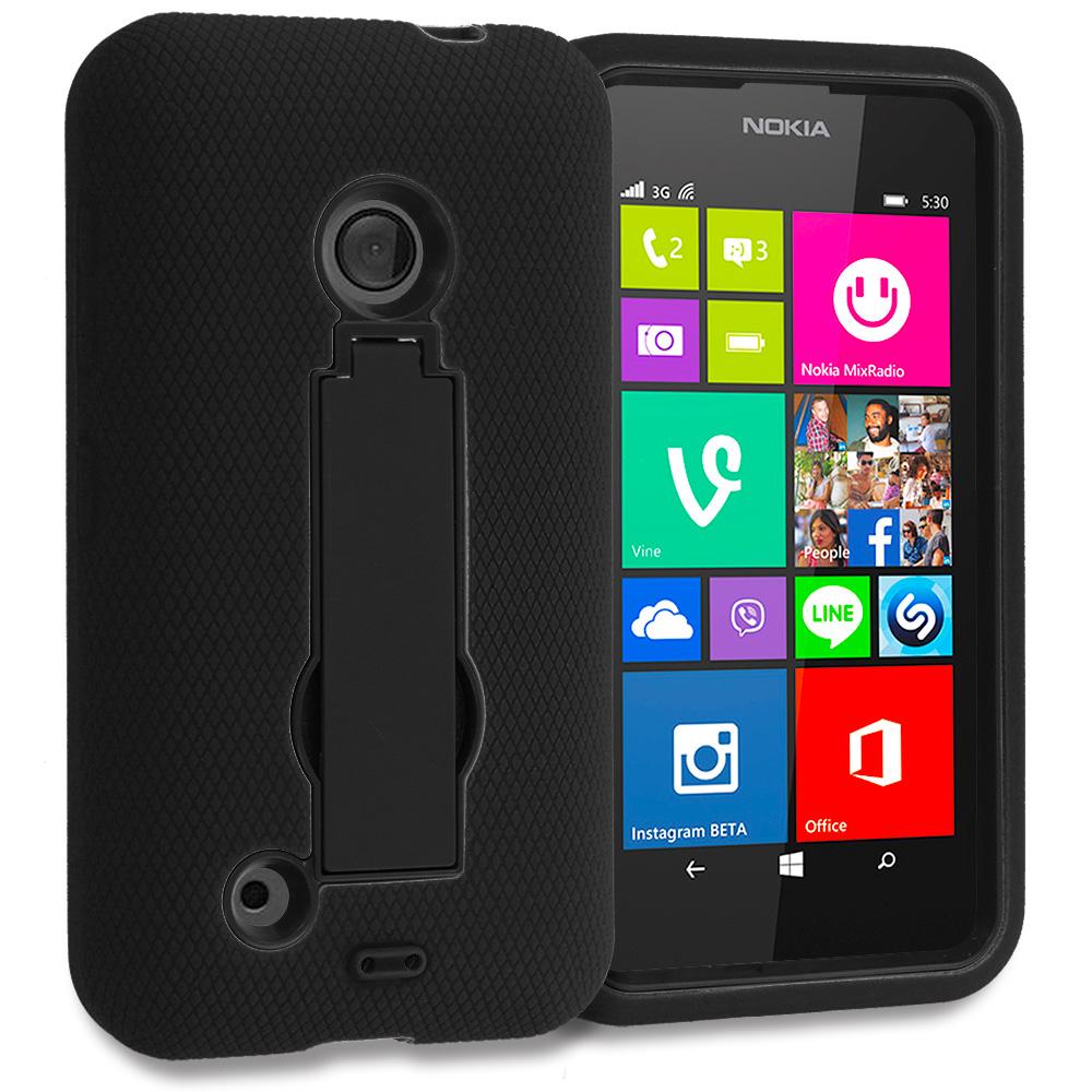 Nokia Lumia 530 Black / Black Hybrid Heavy Duty Hard Soft Case Cover with Kickstand