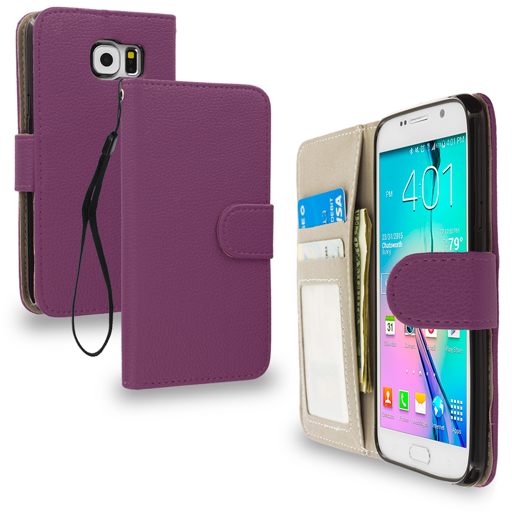 Samsung Galaxy S6 Purple Leather Wallet Pouch Case Cover with Slots