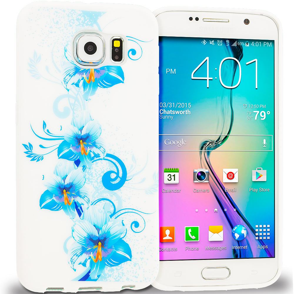 Samsung Galaxy S6 Combo Pack : Blue White Flower TPU Design Soft Rubber Case Cover : Color Blue White Flower