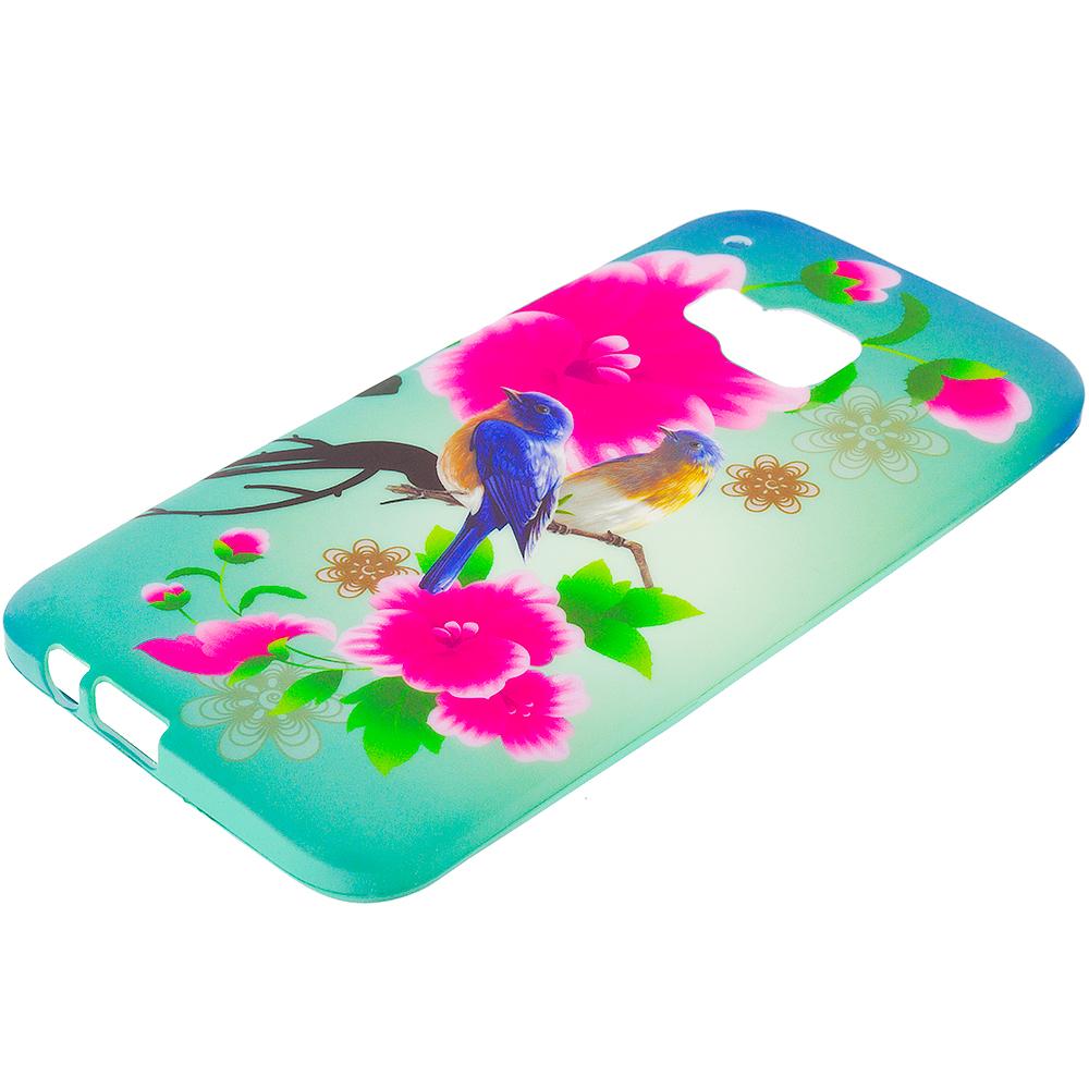 HTC One M9 Blue Bird Pink Flower TPU Design Soft Rubber Case Cover