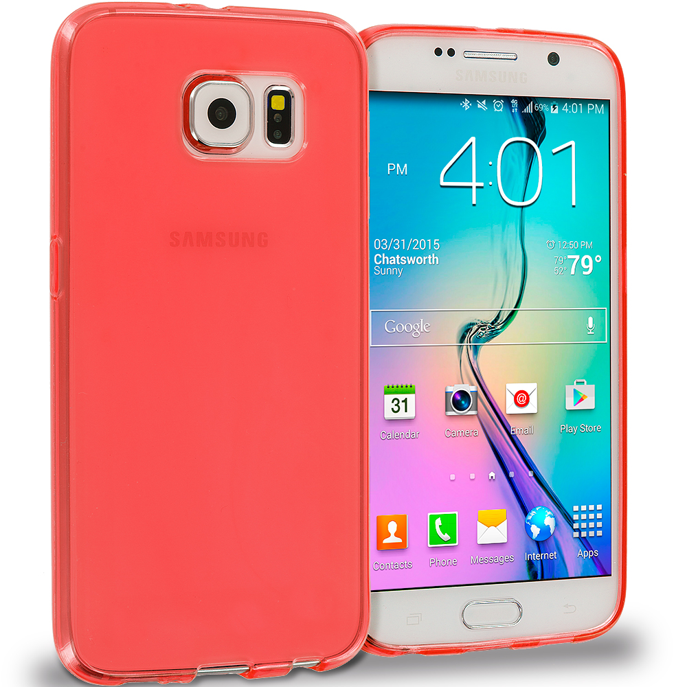 Samsung Galaxy S6 Combo Pack : Hot Pink Plain TPU Rubber Skin Case Cover : Color Peach Plain