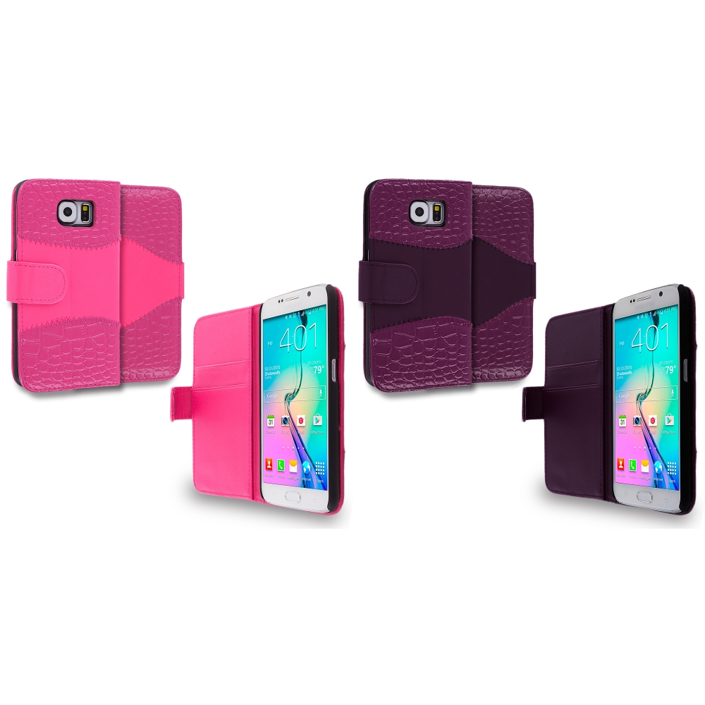 Samsung Galaxy S6 Combo Pack : Hot Pink Crocodile Leather Wallet Pouch Case Cover with Slots