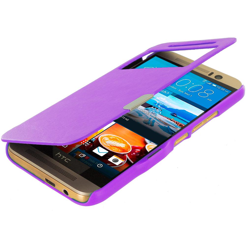 HTC One M9 Purple Window Magnetic Flip Wallet Case Cover Pouch