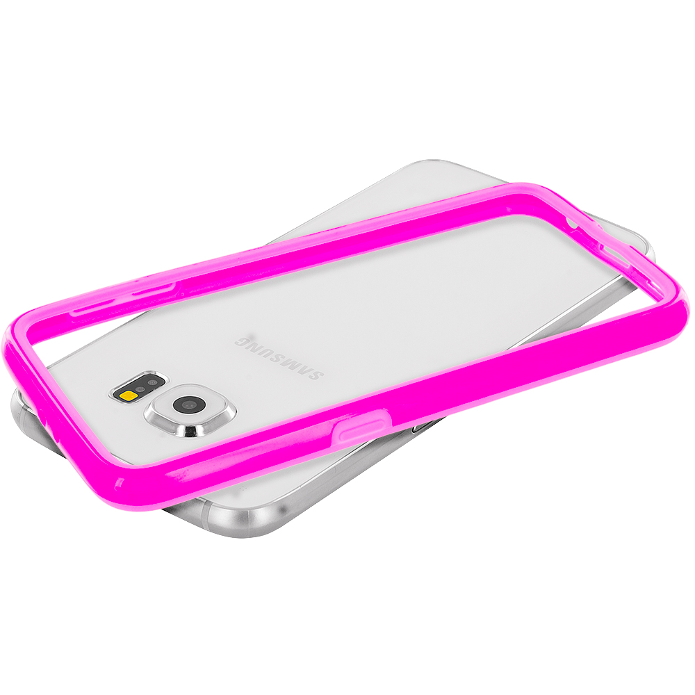 Samsung Galaxy S6 Combo Pack : Purple TPU Bumper Frame Case Cover : Color Hot Pink