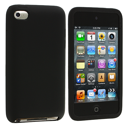 Apple iPod Touch 4th Generation Black Silicone Soft Skin Case Cover