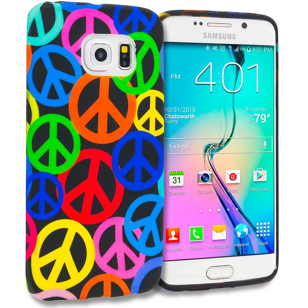 Samsung Galaxy S6 Edge Peace Sign TPU Design Soft Rubber Case Cover