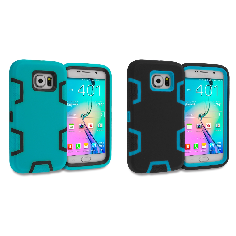Samsung Galaxy S6 Combo Pack : Baby Blue / Black Hybrid Defender Heavy Duty Shockproof Armor Hard Soft Case Cover