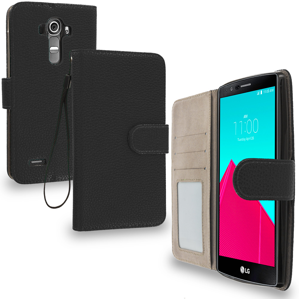 LG G4 Black Leather Wallet Pouch Case Cover with Slots