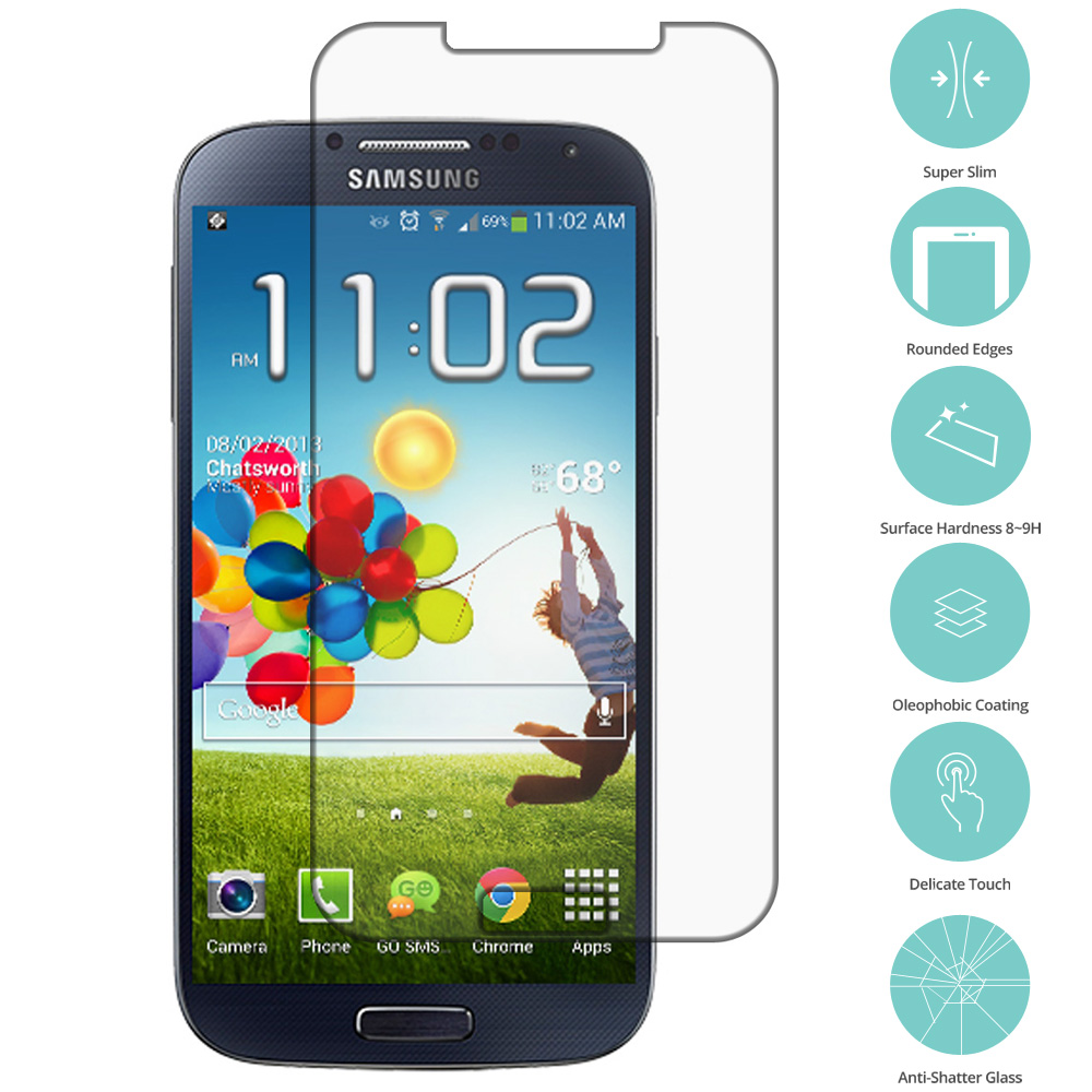 Samsung Galaxy S4 Clear Tempered Glass Film Screen Protector Clear