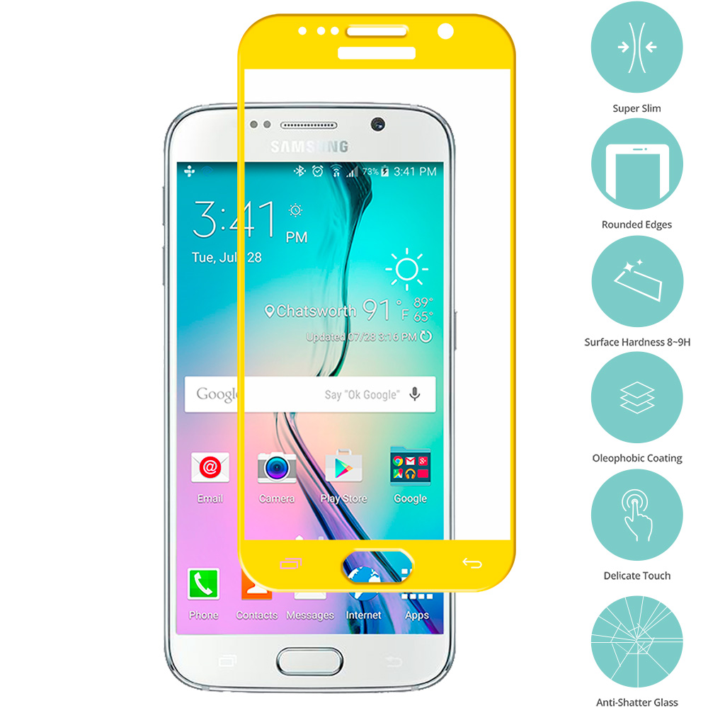 Samsung Galaxy S6 Yellow Tempered Glass Film Screen Protector Colored