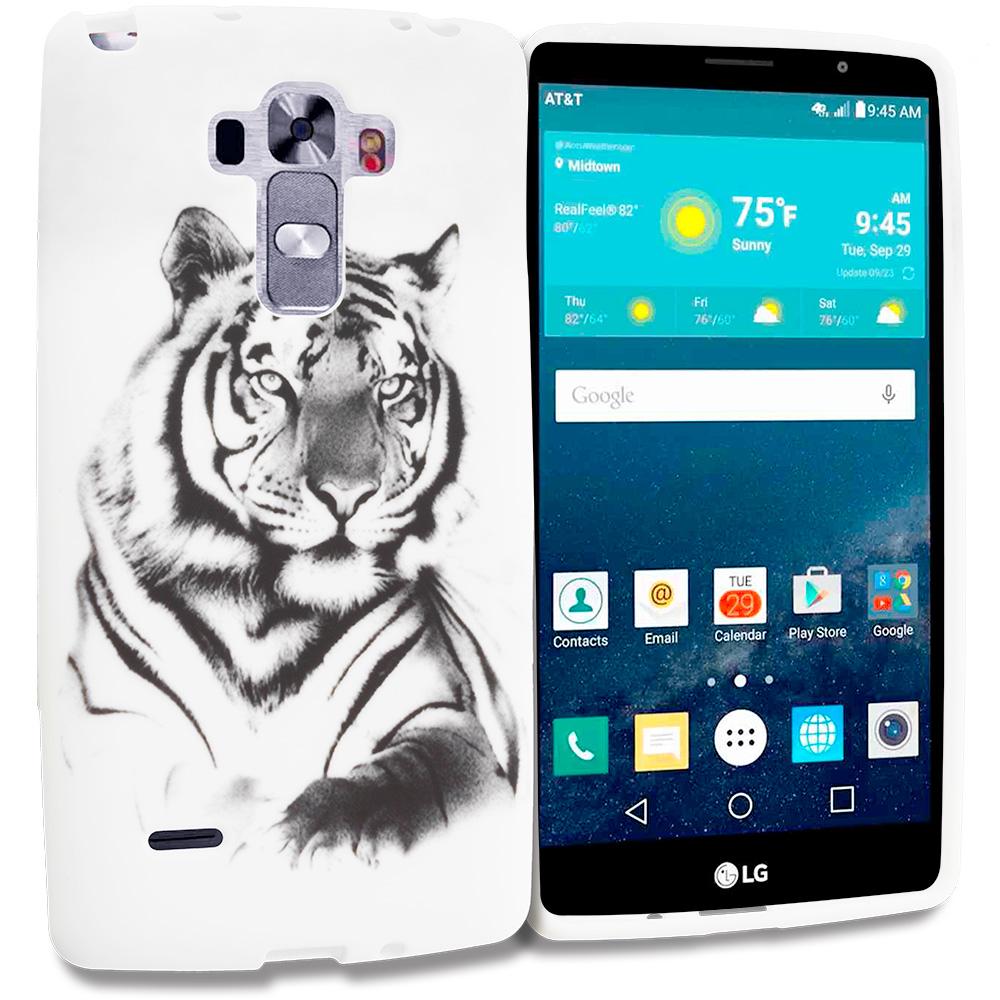 LG G Vista 2 White Tiger TPU Design Soft Rubber Case Cover