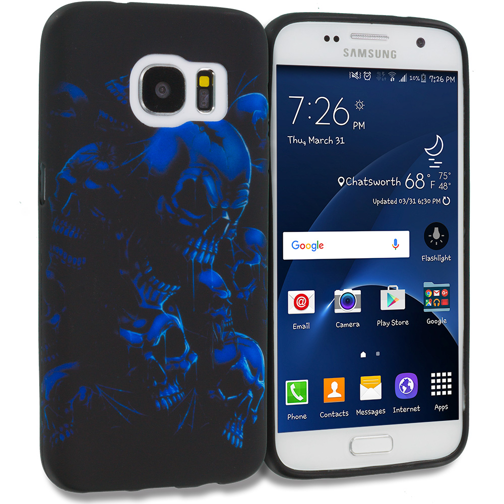 Samsung Galaxy S7 Combo Pack : Black Blue Skull TPU Design Soft Rubber Case Cover : Color Black Blue Skull