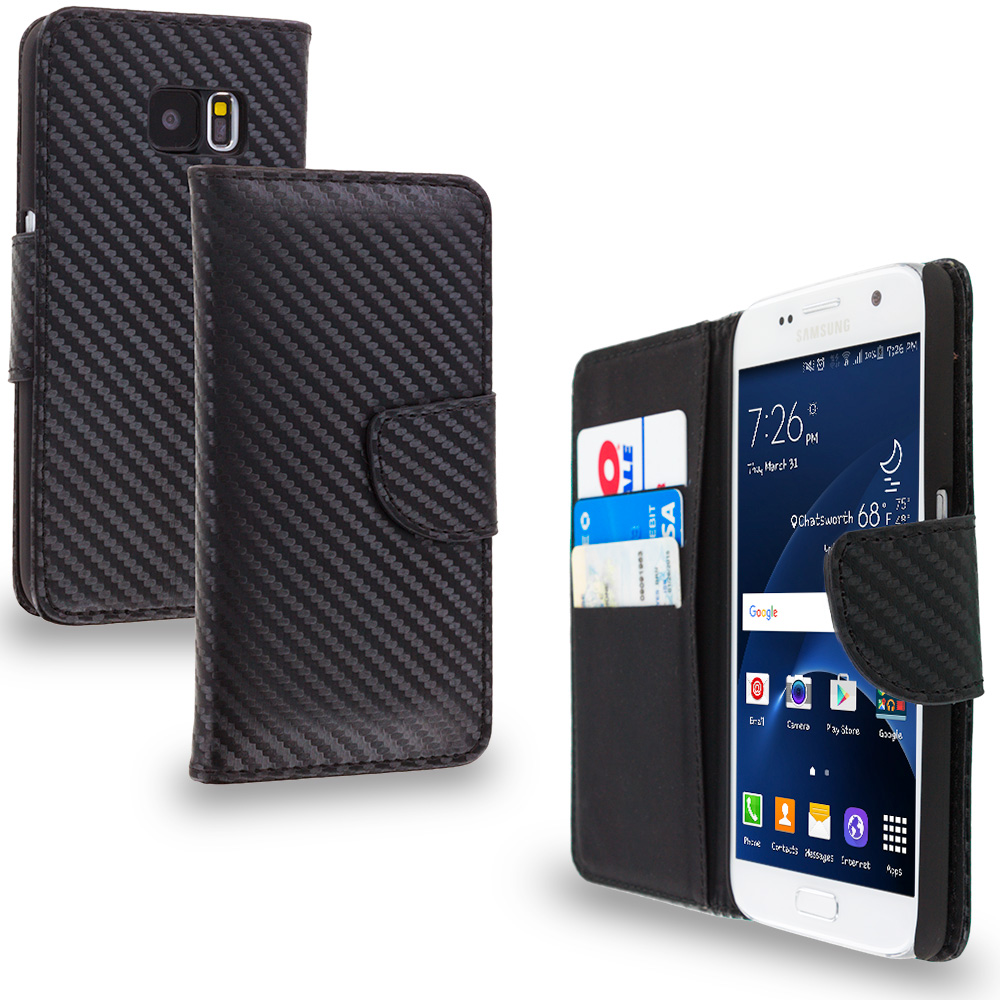 Samsung Galaxy S7 Combo Pack : Black Leather Wallet Pouch Case Cover with Slots : Color Carbon Fiber